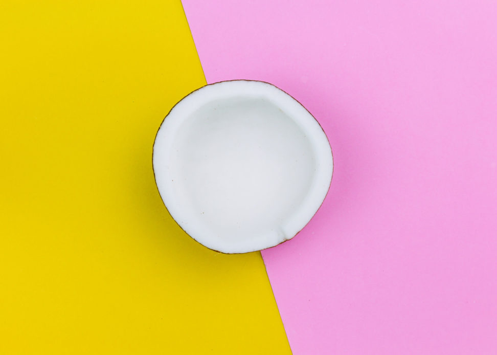 Coconut on colourful background